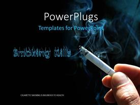 PowerPlugs: PowerPoint template with smoking Kills concept with cigarette and smoke