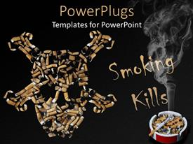 PowerPlugs: PowerPoint template with smoking kills skull made of cigarettes, cigarette with smoke in ashtray on black background