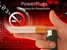 PowerPoint template displaying no smoking sign, two cigarettes and lighter in man hand, hand with cigarettes and lighter depicting model of a gun