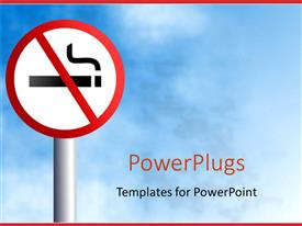 PowerPlugs: PowerPoint template with no smoking signpost on light blue sky background framed with red margins at the top and bottom