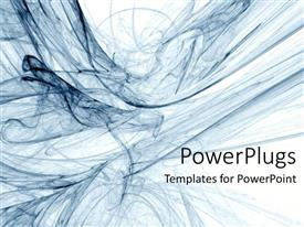 PowerPoint template displaying smoky blue swirls on plain white background