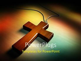 PowerPoint template displaying smooth wooden cross with chain on white and brown background