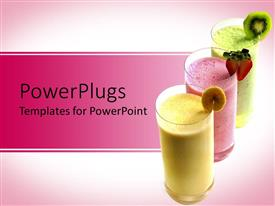 PowerPlugs: PowerPoint template with smoothies with fruit, banana, strawberry, kiwi