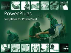 PowerPoint template displaying snapshots of time in hospital with surgery and doctors on a green background
