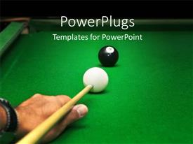 PowerPlugs: PowerPoint template with snooker board with man playing cue against last ball
