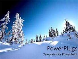 PowerPlugs: PowerPoint template with snow alps with white snow covered trees