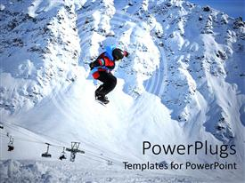 PowerPlugs: PowerPoint template with snow boarder jumping over lots of snow with mountains behind