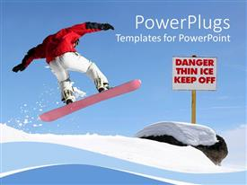 PowerPlugs: PowerPoint template with a snow boarder showing his skills