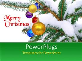 PowerPlugs: PowerPoint template with a snow covered Christmas tree and texts that spell out the words