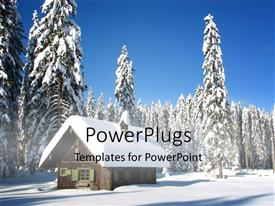 PowerPlugs: PowerPoint template with snow falling on christmas trees and small house in winter