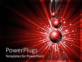 PowerPlugs: PowerPoint template with snow flakes with Christmas balloons on red background