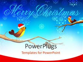 PowerPlugs: PowerPoint template with snow flakes with Merry Christmas text and birds with Santa caps