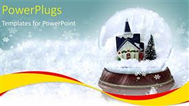 PowerPoint template displaying a beautiful snow globe with a castle inside it