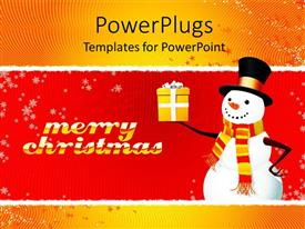 PowerPoint template displaying a snow man holding a gift a text that spells out
