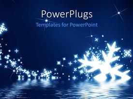 PowerPlugs: PowerPoint template with snowflakes on a dark blue background with glitters