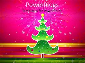 PowerPlugs: PowerPoint template with snowflakes dropping of decorated christmas tree