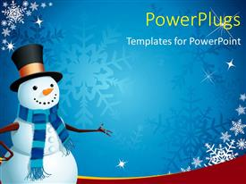 PowerPoint template displaying a snowman with bluish background and place for text