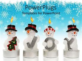 PowerPlugs: PowerPoint template with snowman candle with Christmas tree and three more snowmen with letters spelling joy