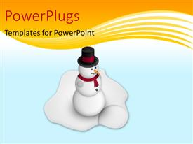 PowerPlugs: PowerPoint template with a snowman with ice in the background and place for text