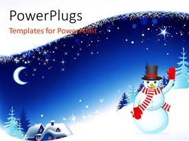 PowerPlugs: PowerPoint template with a snowman with a lot of ice in the background