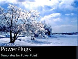 PowerPlugs: PowerPoint template with snowy trees winter time blue skies black background
