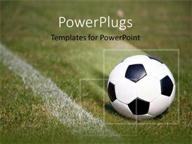 PowerPlugs: PowerPoint template with soccer ball on field