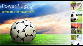 PowerPoint template displaying soccer ball football sport game collage