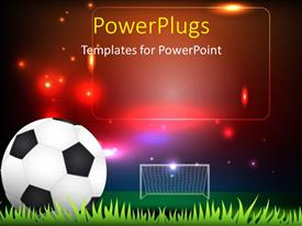 PowerPlugs: PowerPoint template with soccer ball on grass against stadium