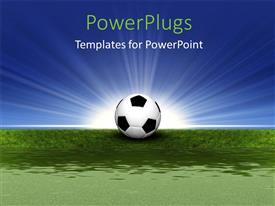 PowerPlugs: PowerPoint template with soccer ball on green grass with light rays