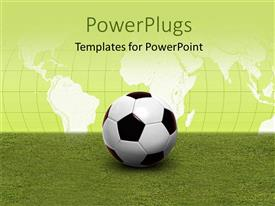 PowerPlugs: PowerPoint template with soccer ball on green pitch with world map in background