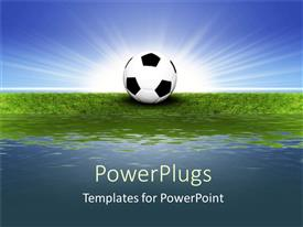 PowerPlugs: PowerPoint template with soccer ball sitting in grass next to water