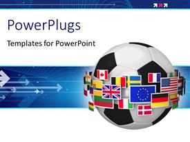 PowerPlugs: PowerPoint template with soccer ball surrounded with group of color world flags with arrows on blue background