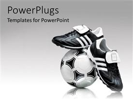PowerPlugs: PowerPoint template with soccer footwear and ball over a grey gradient background