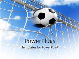 PowerPlugs: PowerPoint template with soccer math with goal scored breaking net with cloudy sky