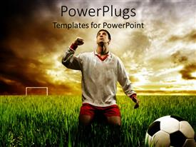 PowerPlugs: PowerPoint template with soccer player depicting the victory in the ground of life