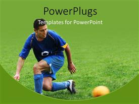 PowerPoint template displaying soccer player hitting the ball on grass with green color