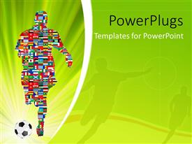 PowerPlugs: PowerPoint template with soccer Player made up of different flags in Global Soccer Event