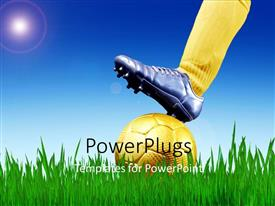 PowerPlugs: PowerPoint template with soccer player places boot on gold plated ball in soccer field