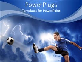 PowerPlugs: PowerPoint template with soccer player shooting ball with risen foot on lightning stormy background