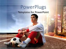 PowerPlugs: PowerPoint template with soccer player sitting on American road with a ball and skyline