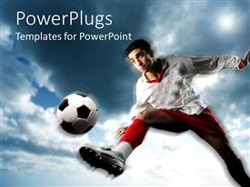 PowerPlugs: PowerPoint template with soccer player in uniform playing soccer during the day