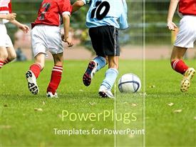 PowerPlugs: PowerPoint template with soccer players in action on grassy field