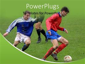 PowerPlugs: PowerPoint template with soccer players in the field competing with each other