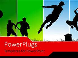 PowerPlugs: PowerPoint template with soccr players competing with each other depicting sports concept with multi color