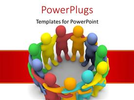 PowerPoint template displaying social group of colored 3D Characters over a red stripe
