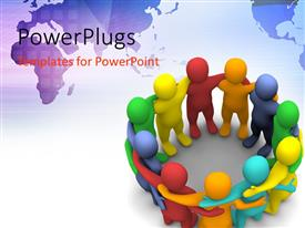 PowerPlugs: PowerPoint template with a number of colorful people together with globe in background