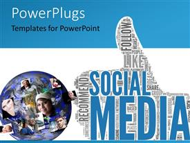 PowerPoint template displaying social media concept in tag cloud of thumb up shape with different profile pictures around a 3D globe