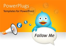 PowerPlugs: PowerPoint template with social media depiction with blue twitter bird and megaphone