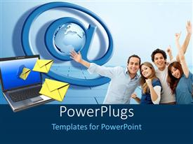 PowerPlugs: PowerPoint template with social media depiction with email symbol and message out of laptop screen