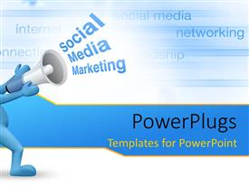 PowerPlugs: PowerPoint template with social Media marketing concept with business keywords in background